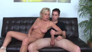 Blonde MILF wants her steps-son's cum