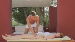 White stud gives this chick a massage and a cock in her pussy
