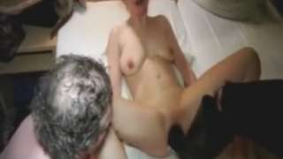German babe gets a boot inside her pussy