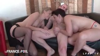 Two MILFs, a blonde and a brunette taking it in the ass