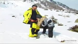 Stunning blonde blows and fucks in the snow