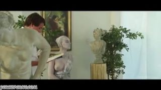 Young man fucks a statue in the museum