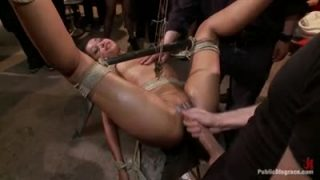 Skin Diamond is tied with ropes and fuck hard