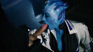 Shepard and Liara (Rachel Starr) find a secluded corner in the Citadel