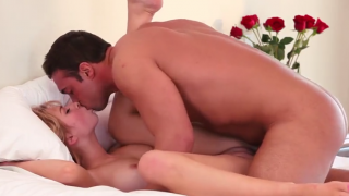 Pussy drilling on a bed of roses
