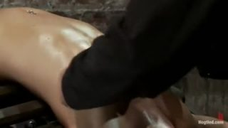 Blonde girl abused by sex machine