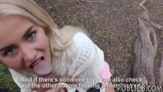 Blonde cutie fucks in the woods for money