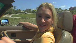 Sweet young blonde is going for a ride, in a car and on a dick