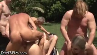 Crazy orgy at the swimming pool