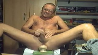 I am wanking my cock with a huge toy deep in my man-pussy!