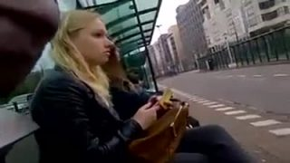 Public masturbation next to a blonde in the bus stop