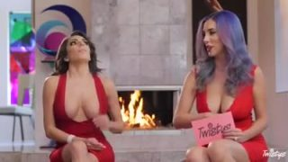 Two hot ladies show tits at live stream